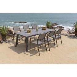 1 table + 6 fauteuils gris