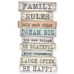 Se¿al 50x30 Family Rules NT.